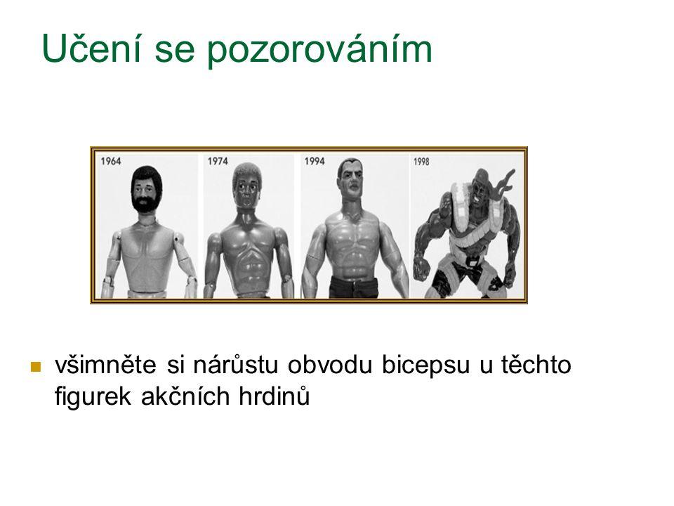 Učení se pozorováním všimněte si nárůstu obvodu bicepsu u těchto figurek akčních hrdinů