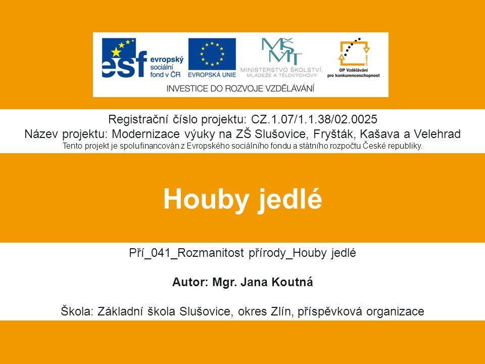 Houby jedlé Registrační číslo projektu: CZ.1.07/1.1.38/02.0025