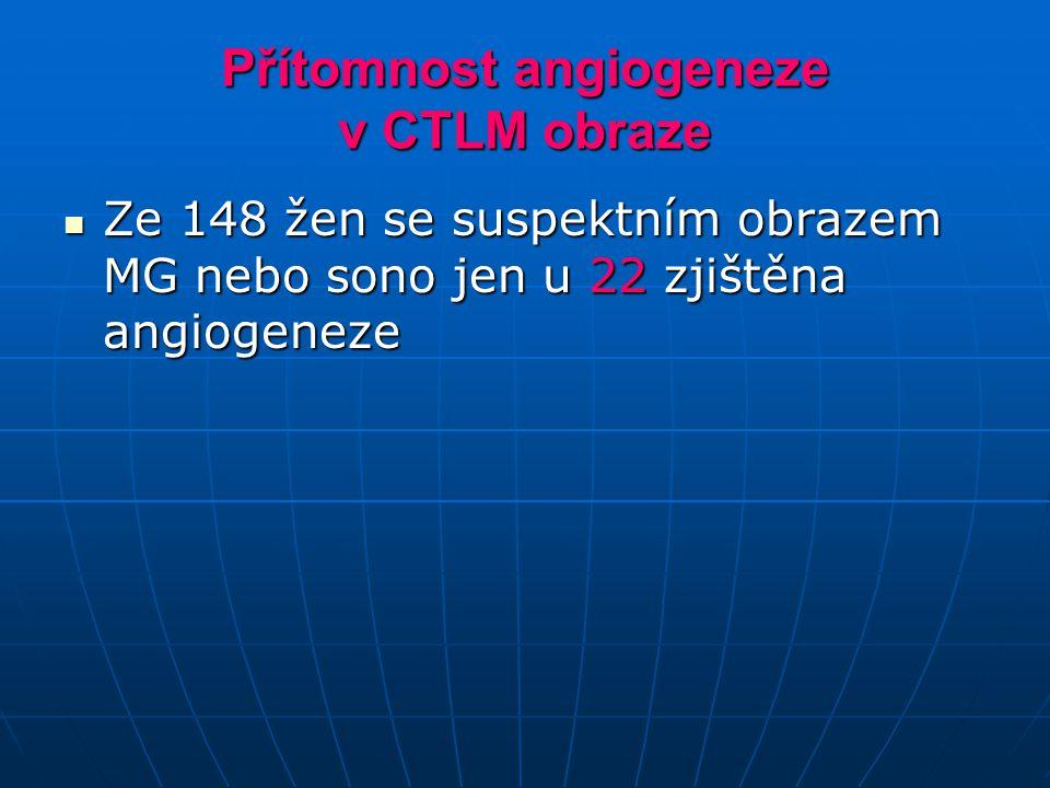 Přítomnost angiogeneze v CTLM obraze