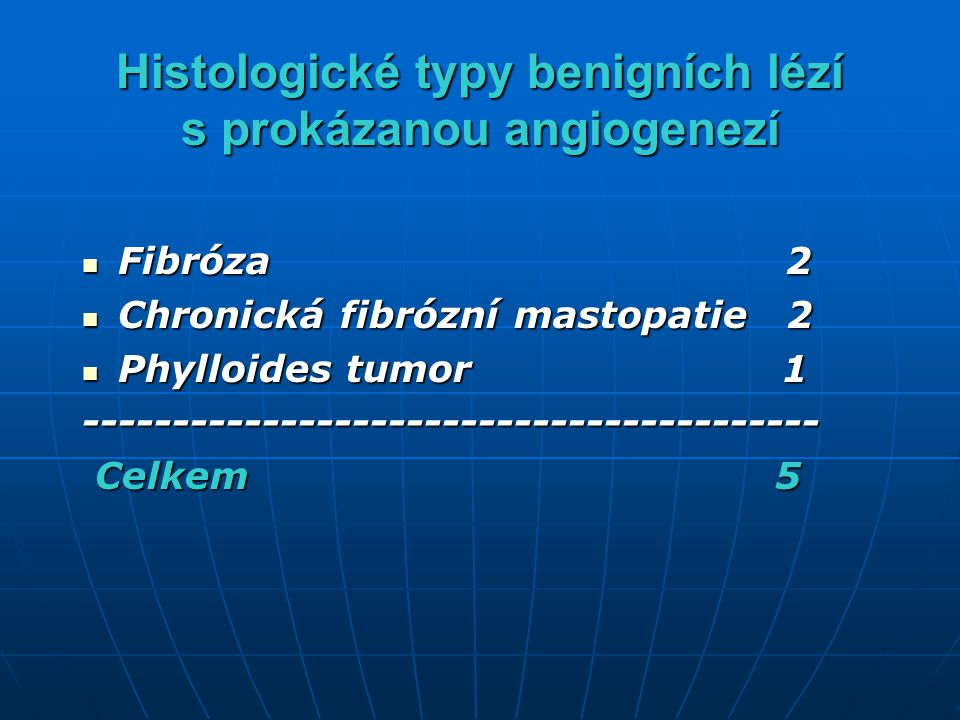 Histologické typy benigních lézí s prokázanou angiogenezí
