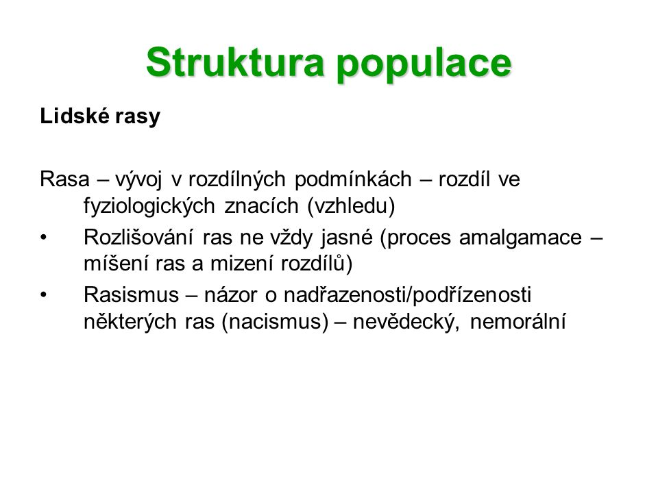 Struktura populace Lidské rasy