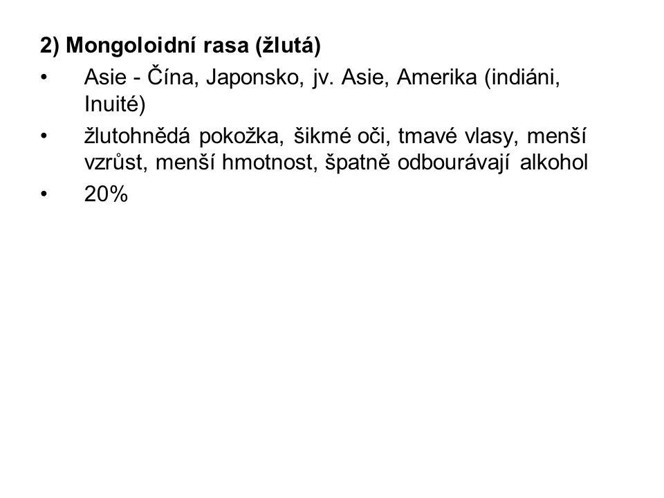2) Mongoloidní rasa (žlutá)
