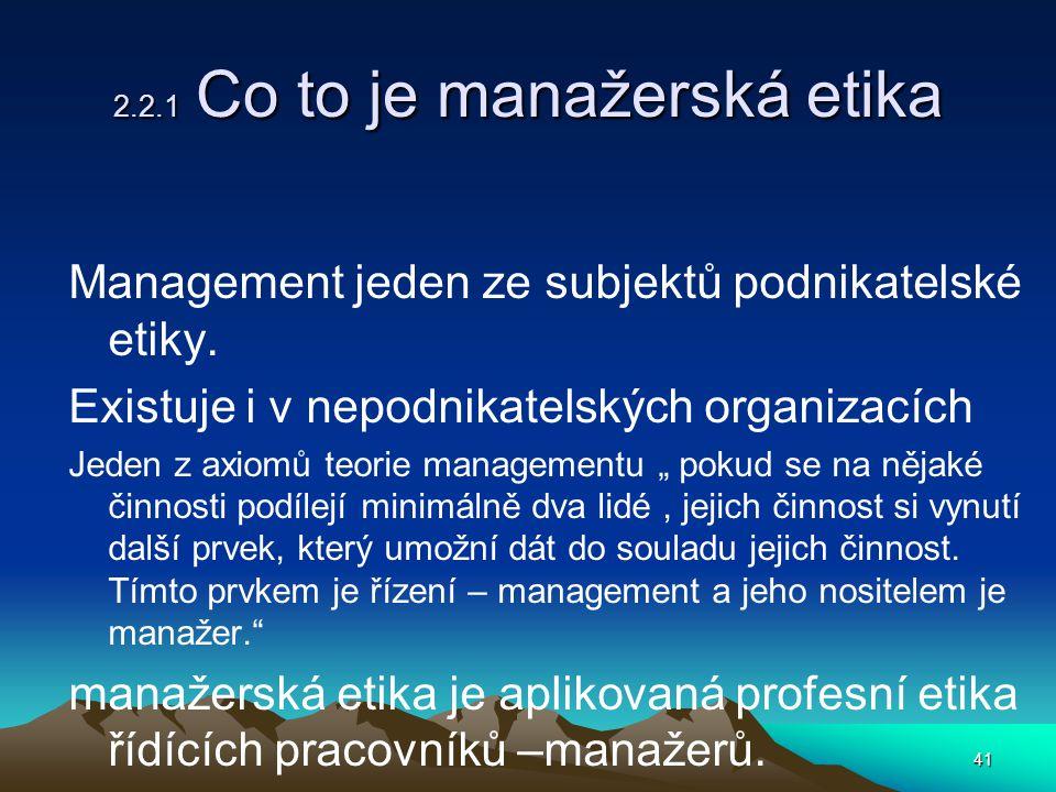 2.2.1 Co to je manažerská etika