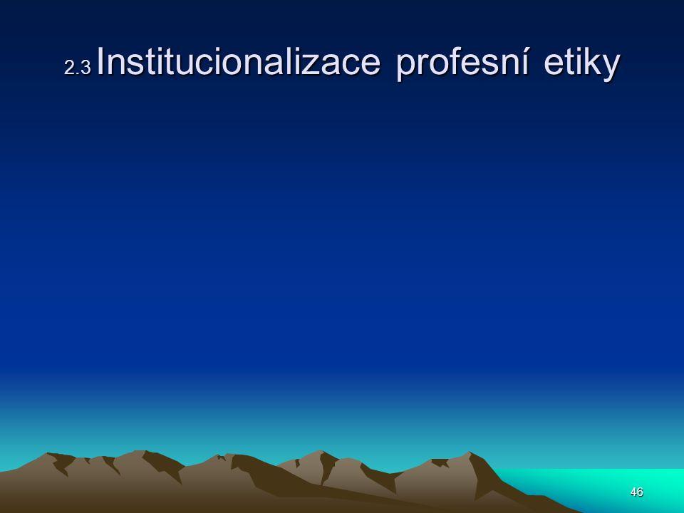 2.3 Institucionalizace profesní etiky
