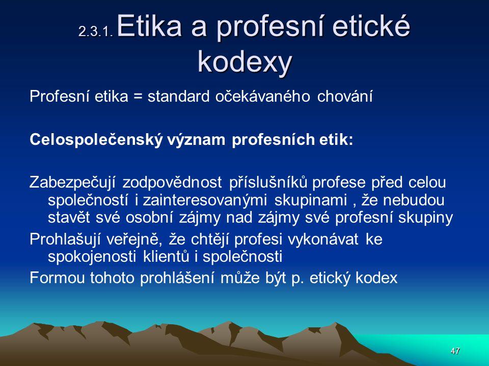 2.3.1. Etika a profesní etické kodexy