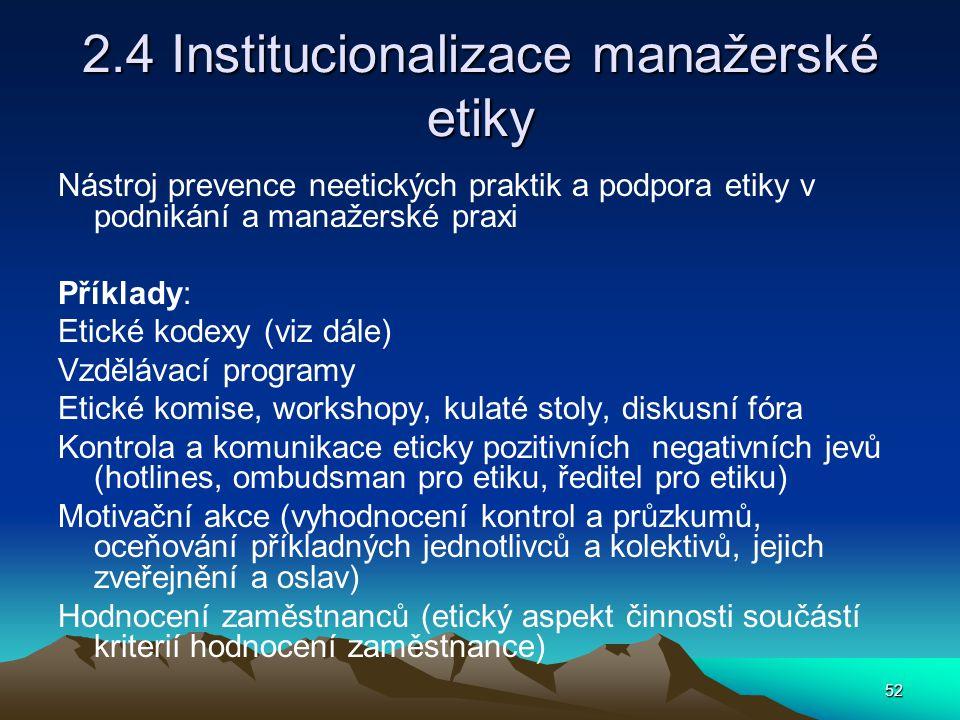 2.4 Institucionalizace manažerské etiky
