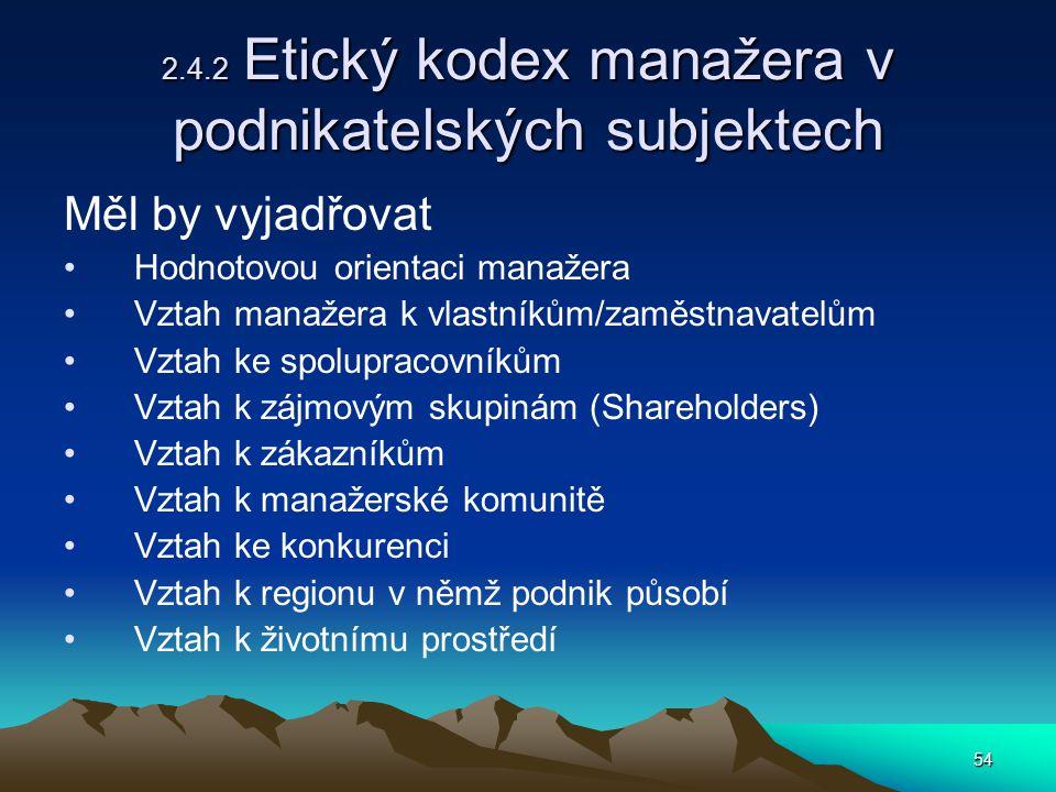 2.4.2 Etický kodex manažera v podnikatelských subjektech