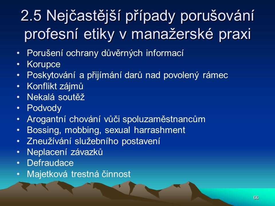 2.5 Nejčastější případy porušování profesní etiky v manažerské praxi