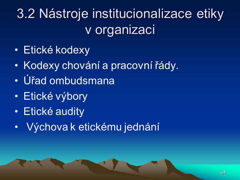 3.2 Nástroje institucionalizace etiky v organizaci