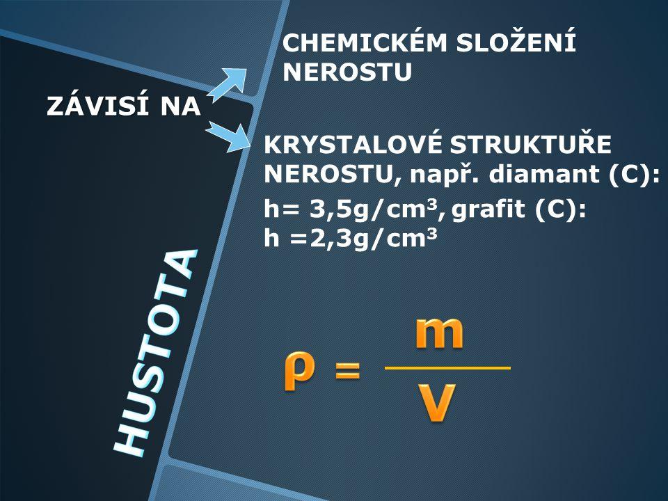 m ρ V = ZÁVISÍ NA CHEMICKÉM SLOŽENÍ NEROSTU