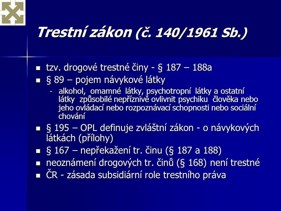 Trestní zákon (č. 140/1961 Sb.) tzv. drogové trestné činy - § 187 – 188a. § 89 – pojem návykové látky.