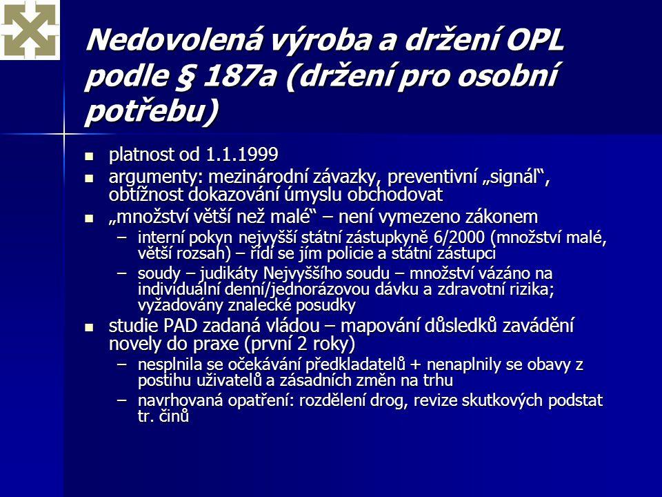 Nedovolená výroba a držení OPL podle § 187a (držení pro osobní potřebu)