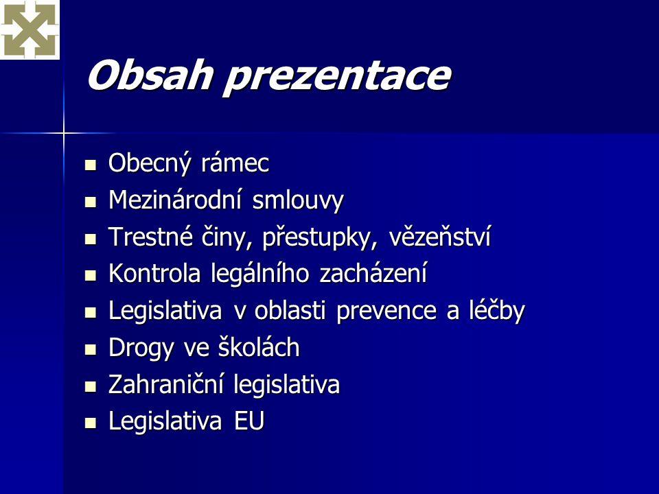 Obsah prezentace Obecný rámec Mezinárodní smlouvy