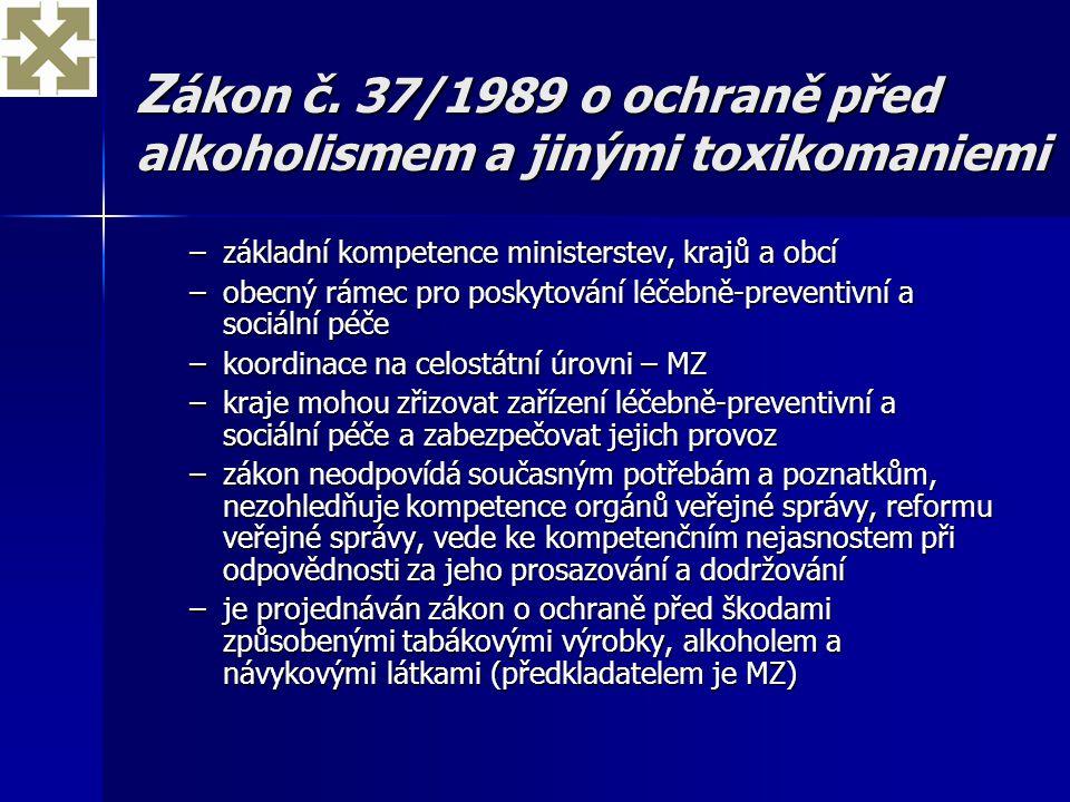 Zákon č. 37/1989 o ochraně před alkoholismem a jinými toxikomaniemi