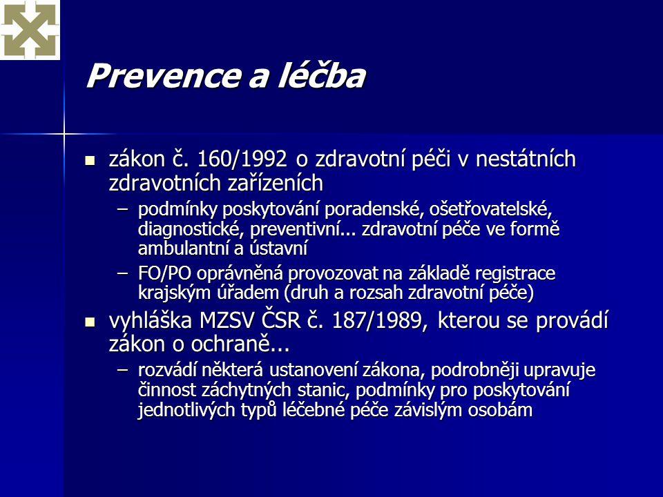 Prevence a léčba zákon č. 160/1992 o zdravotní péči v nestátních zdravotních zařízeních.