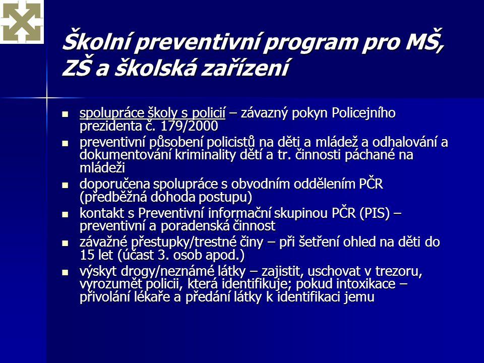 Školní preventivní program pro MŠ, ZŠ a školská zařízení