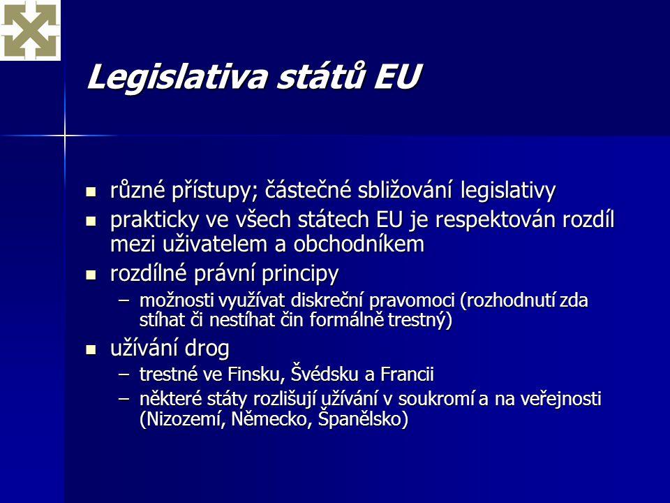 Legislativa států EU různé přístupy; částečné sbližování legislativy