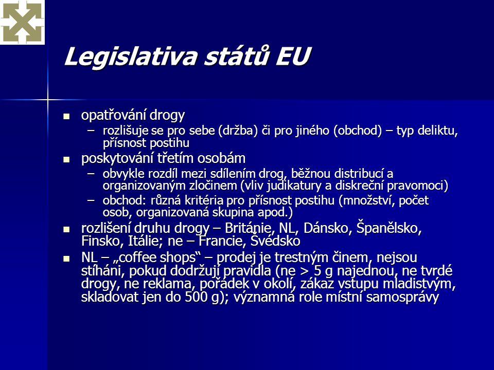 Legislativa států EU opatřování drogy poskytování třetím osobám