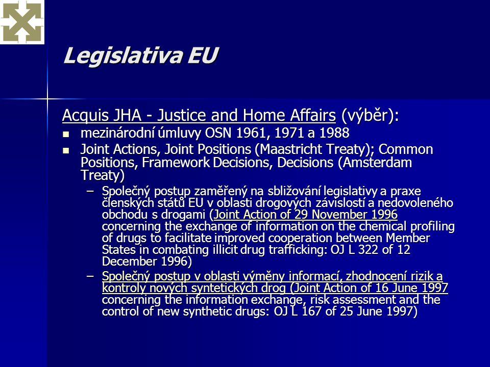 Legislativa EU Acquis JHA - Justice and Home Affairs (výběr):