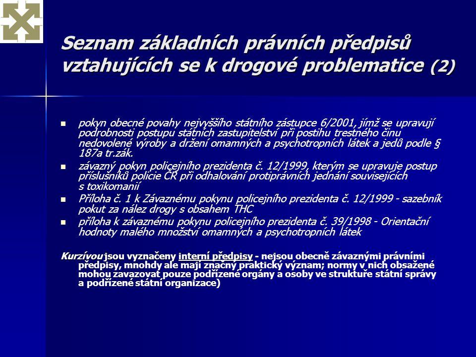 Seznam základních právních předpisů vztahujících se k drogové problematice (2)