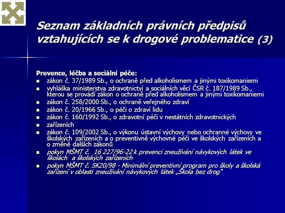 Seznam základních právních předpisů vztahujících se k drogové problematice (3)