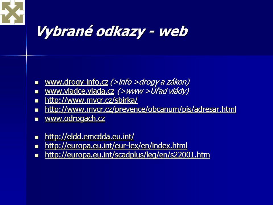 Vybrané odkazy - web www.drogy-info.cz (>info >drogy a zákon) www.vladce.vlada.cz (>www >Úřad vlády)