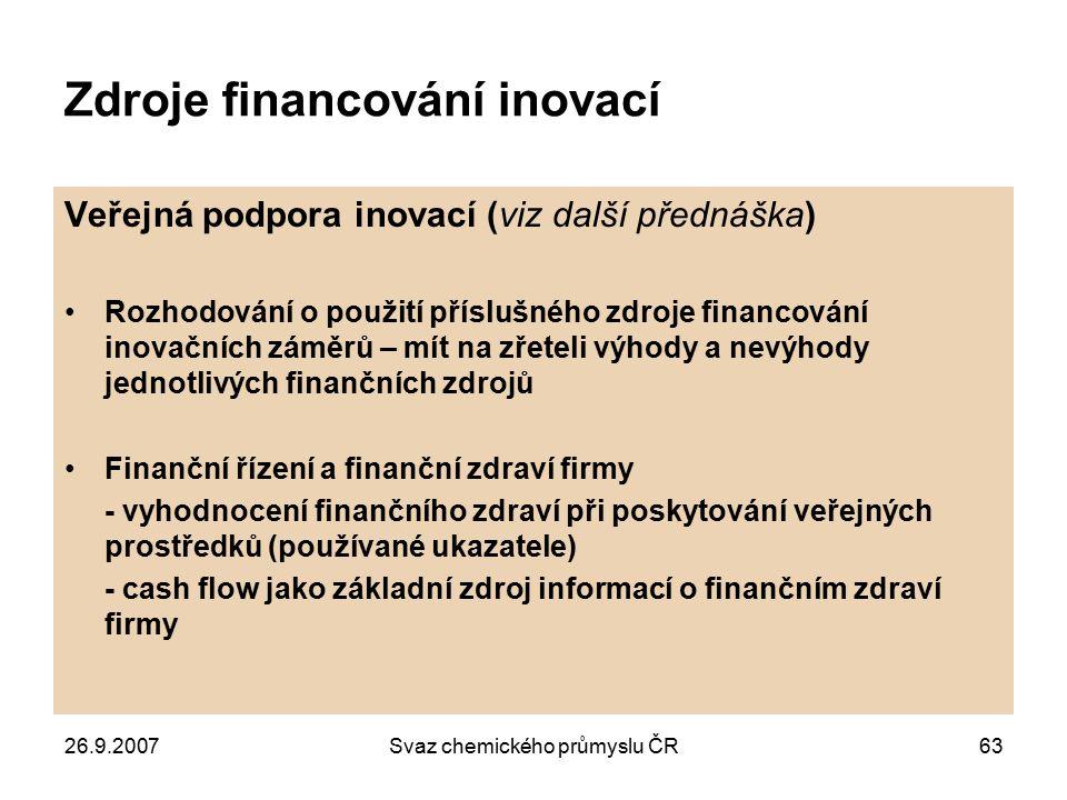 Zdroje financování inovací
