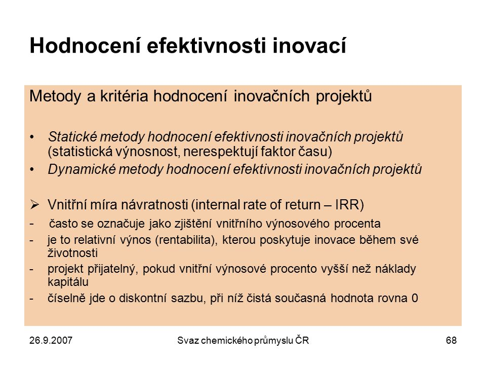 Hodnocení efektivnosti inovací