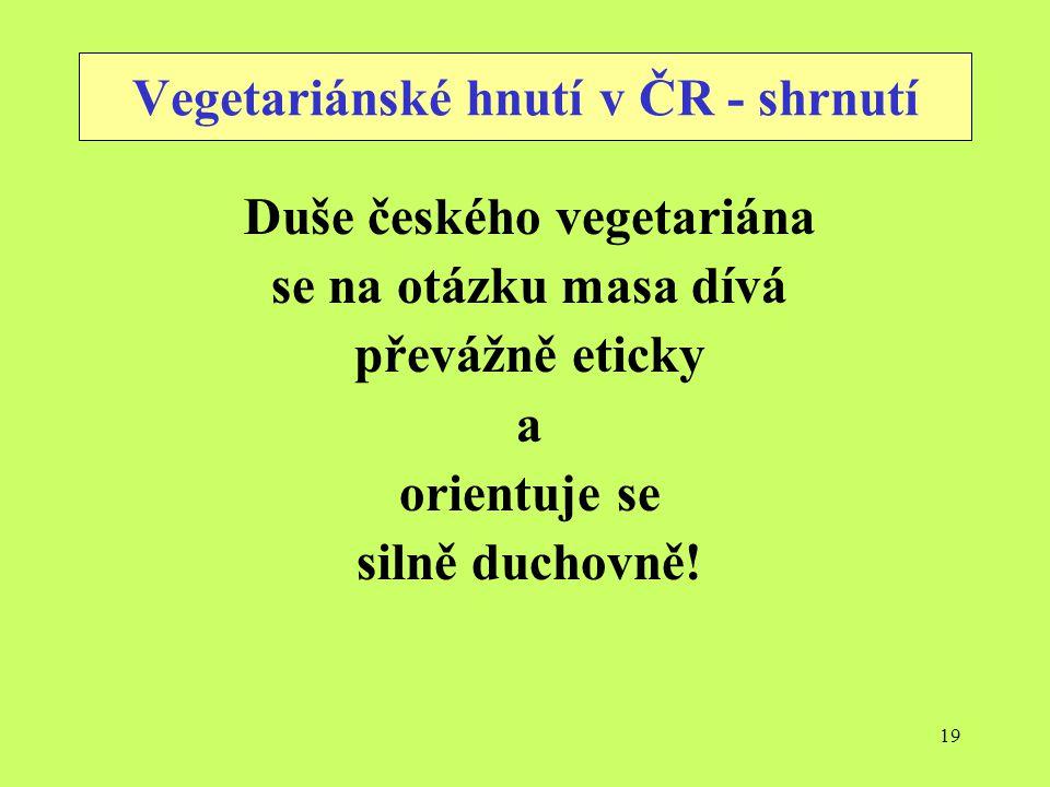 Vegetariánské hnutí v ČR - shrnutí