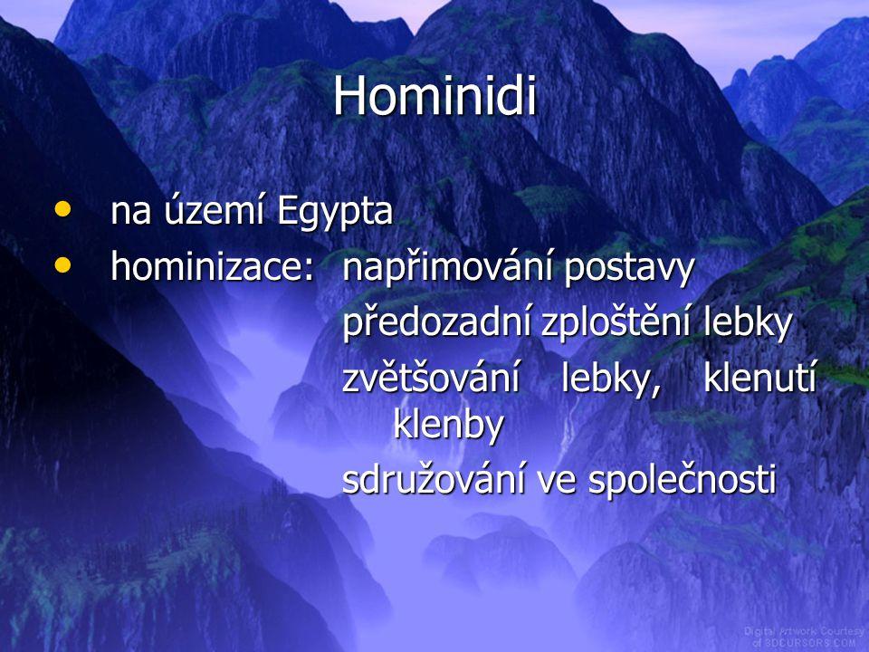 Hominidi na území Egypta hominizace: napřimování postavy