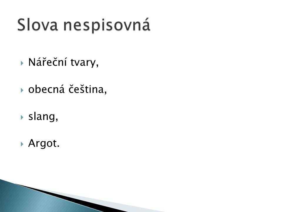 Slova nespisovná Nářeční tvary, obecná čeština, slang, Argot.