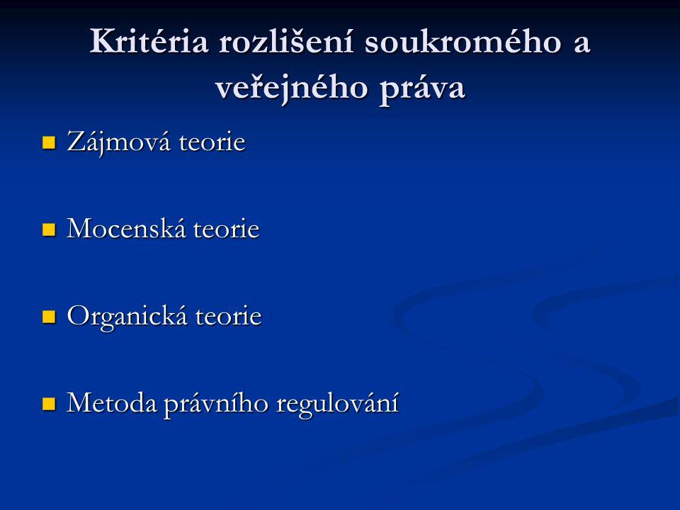 Kritéria rozlišení soukromého a veřejného práva