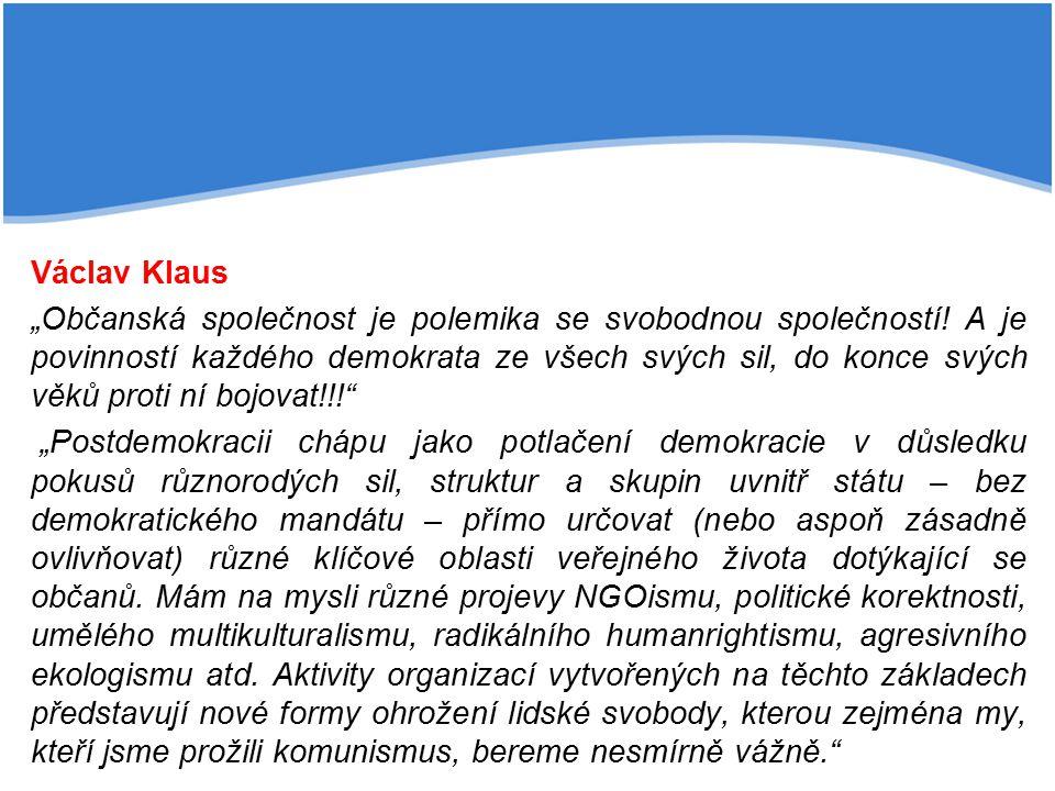 """Václav Klaus """"Občanská společnost je polemika se svobodnou společností"""