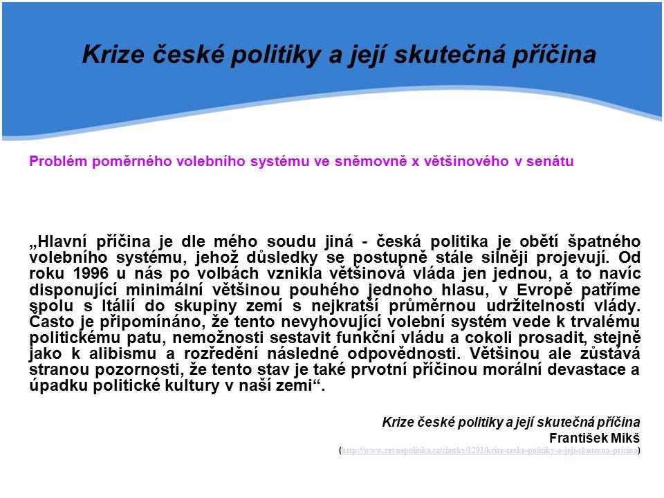 Krize české politiky a její skutečná příčina