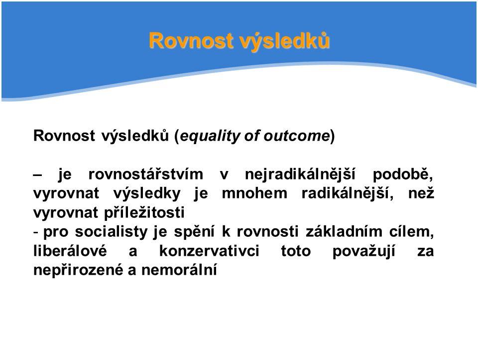 Rovnost výsledků Rovnost výsledků (equality of outcome)