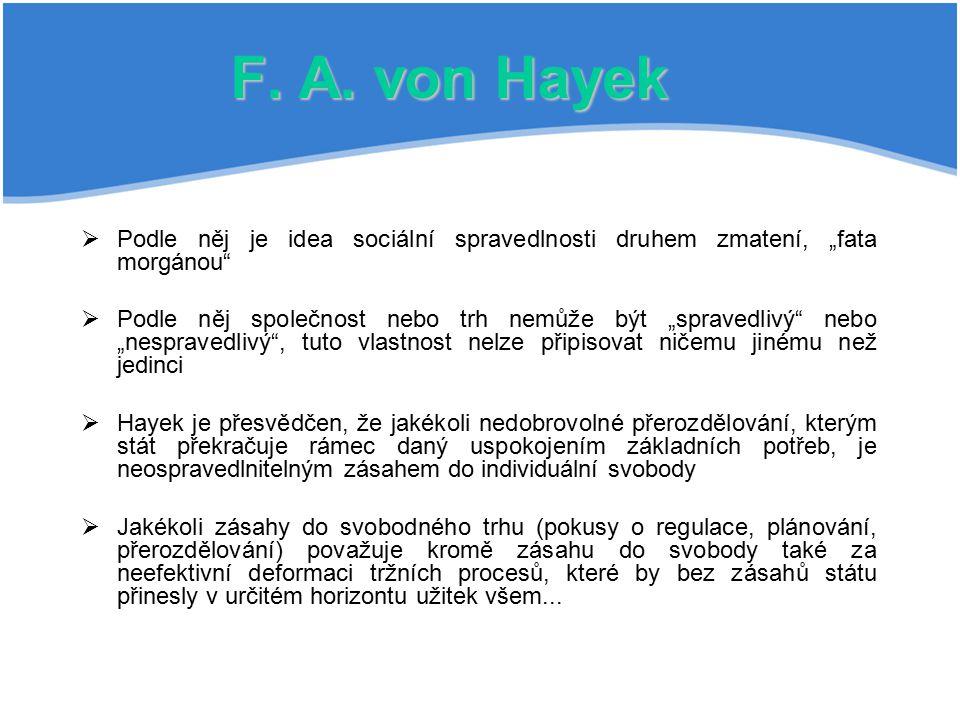 """F. A. von Hayek Podle něj je idea sociální spravedlnosti druhem zmatení, """"fata morgánou"""