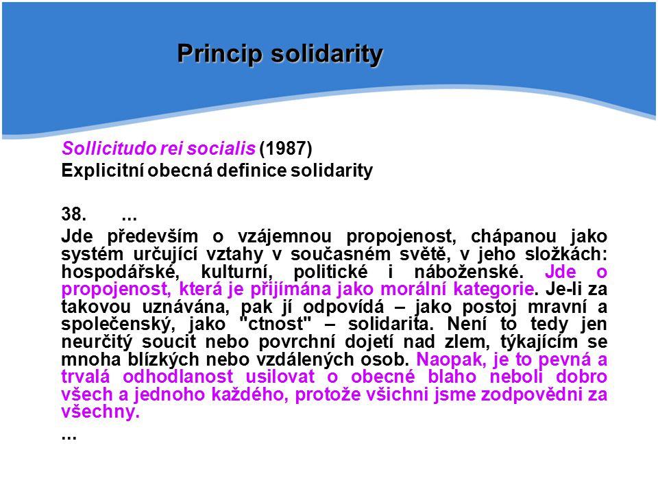 Princip solidarity Sollicitudo rei socialis (1987)