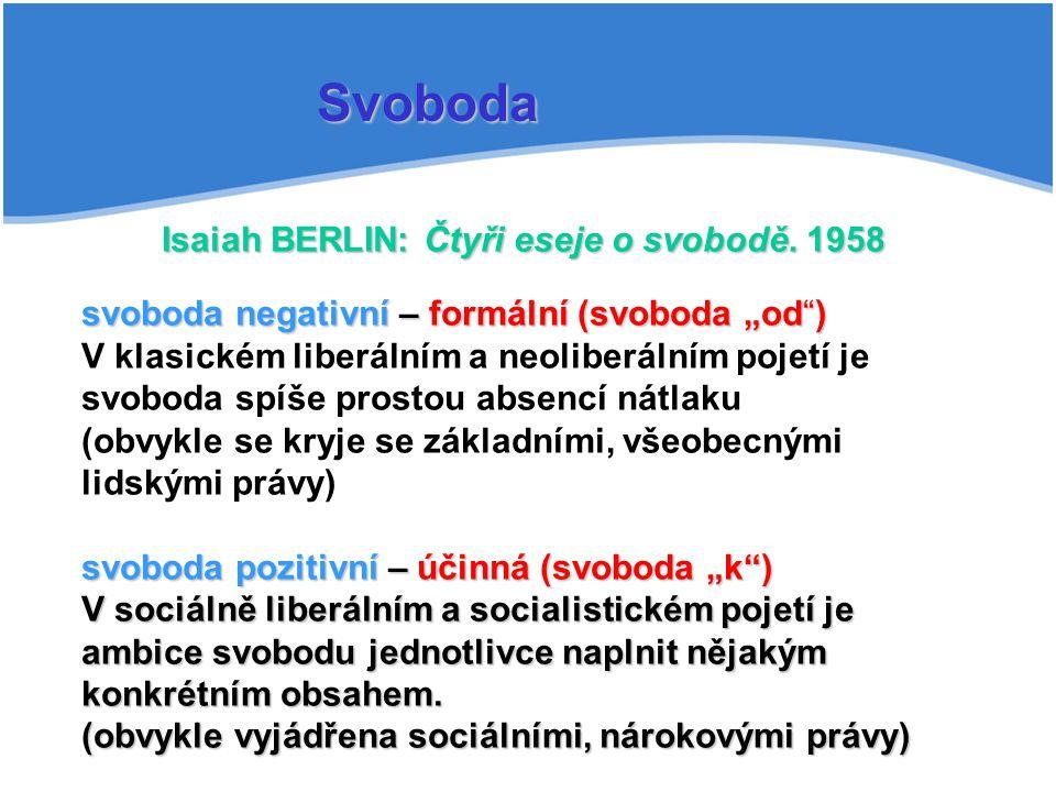 Isaiah BERLIN: Čtyři eseje o svobodě. 1958