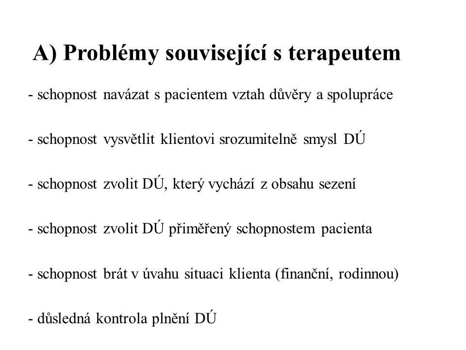 A) Problémy související s terapeutem