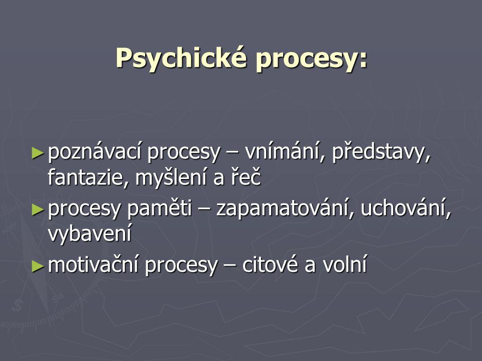 Psychické procesy: poznávací procesy – vnímání, představy, fantazie, myšlení a řeč. procesy paměti – zapamatování, uchování, vybavení.