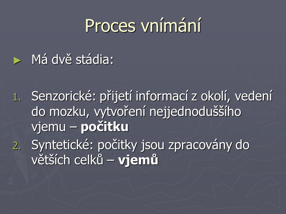 Proces vnímání Má dvě stádia: