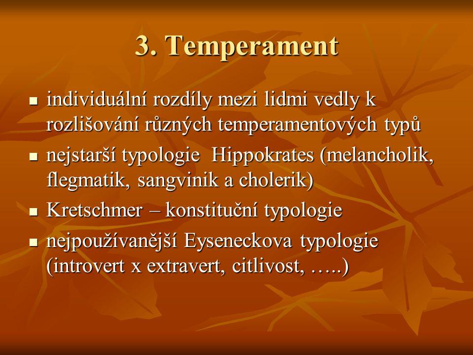 3. Temperament individuální rozdíly mezi lidmi vedly k rozlišování různých temperamentových typů.