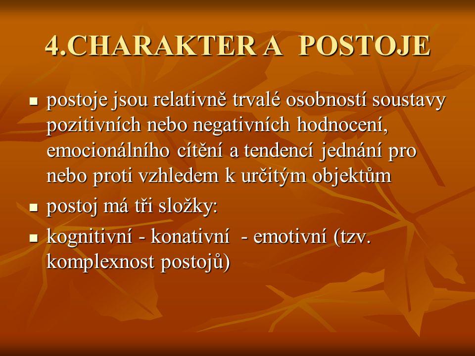 4.CHARAKTER A POSTOJE