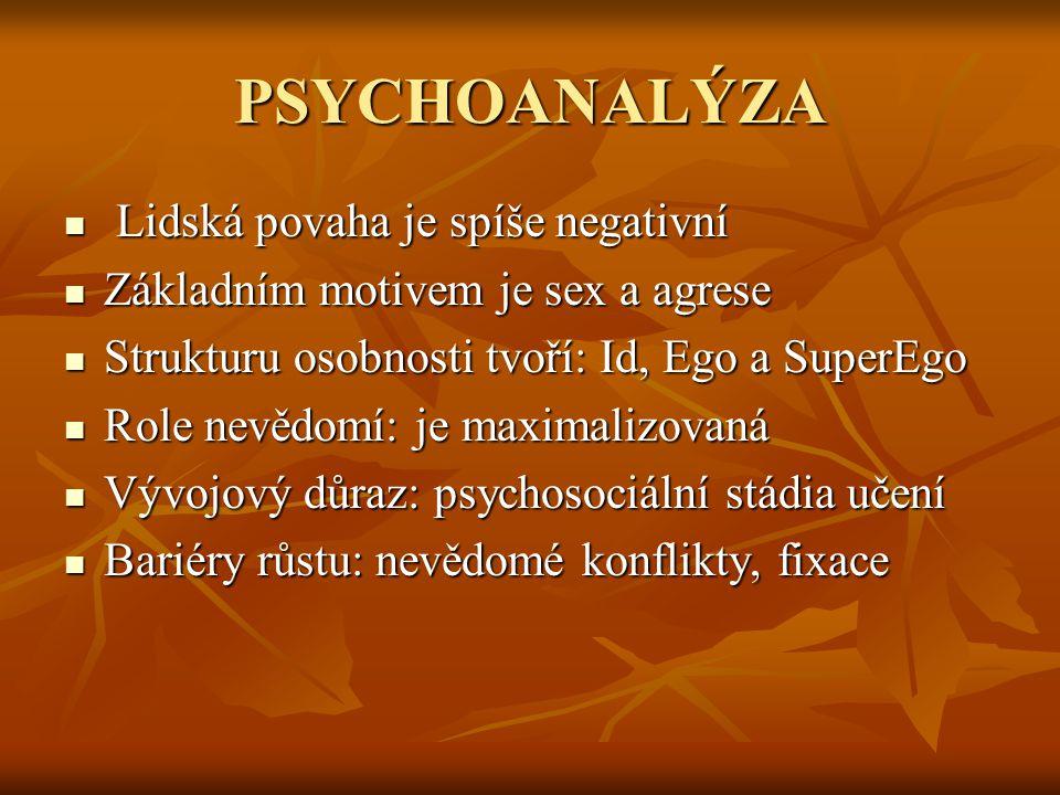 PSYCHOANALÝZA Lidská povaha je spíše negativní