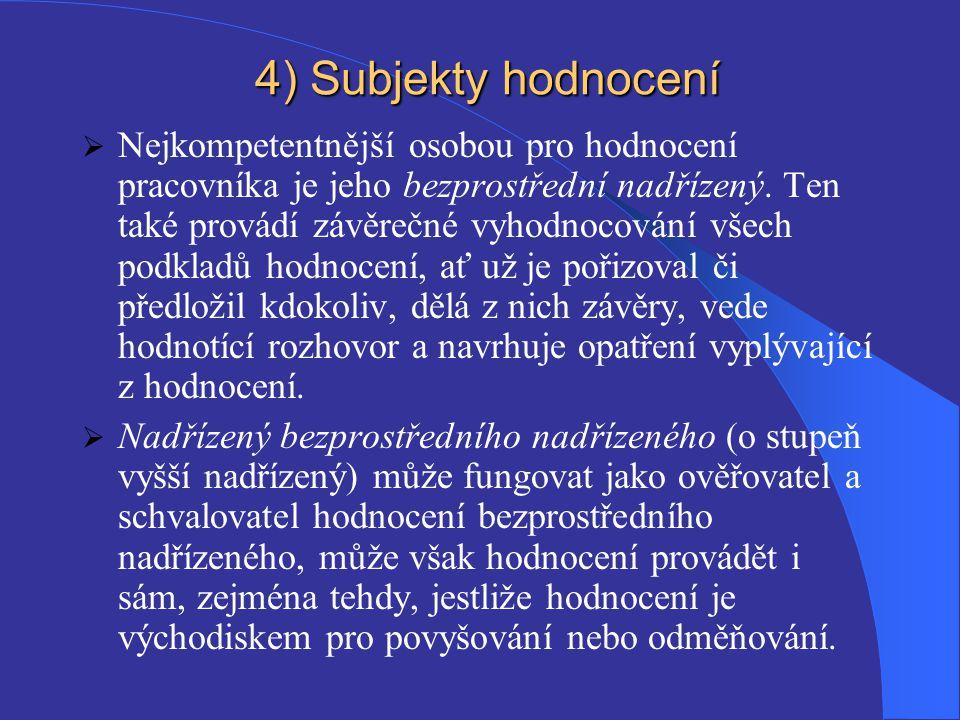 4) Subjekty hodnocení