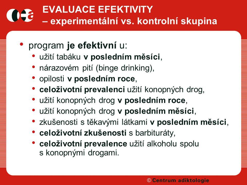 EVALUACE EFEKTIVITY – experimentální vs. kontrolní skupina
