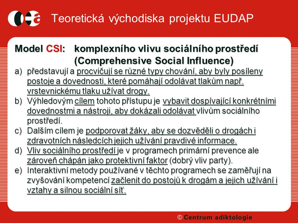 Teoretická východiska projektu EUDAP