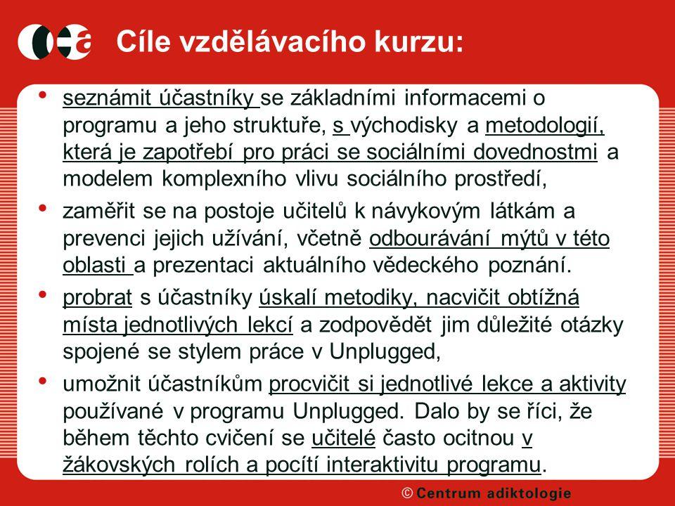 Cíle vzdělávacího kurzu: