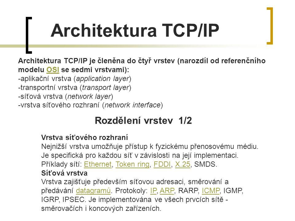 Architektura TCP/IP Rozdělení vrstev 1/2