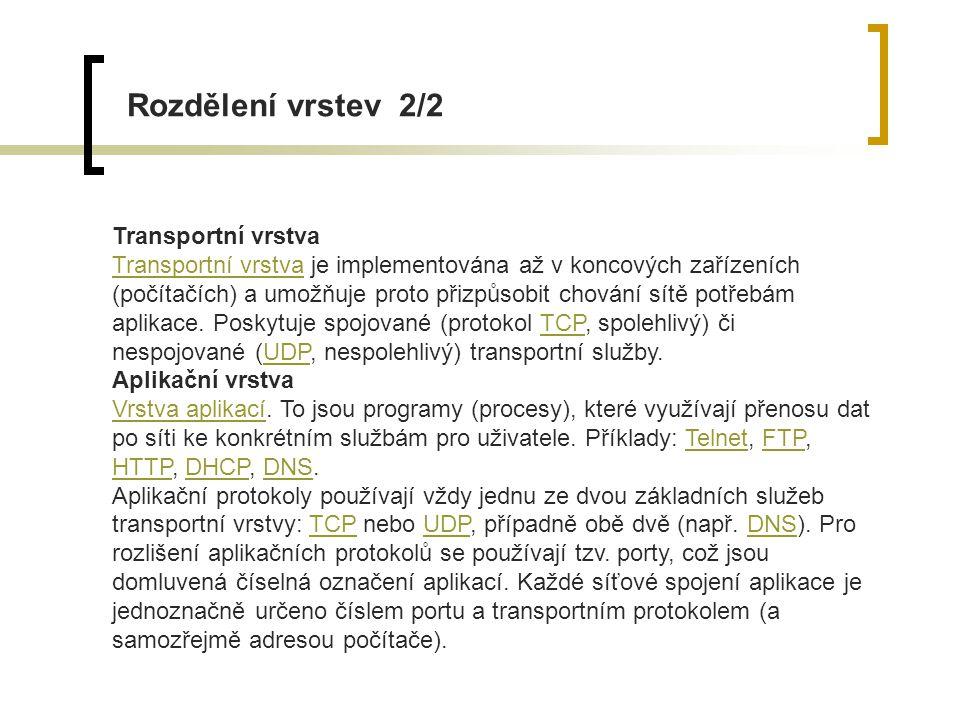 Rozdělení vrstev 2/2 Transportní vrstva